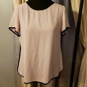 Banana Republic Light Pink Black Trim Blouse 8
